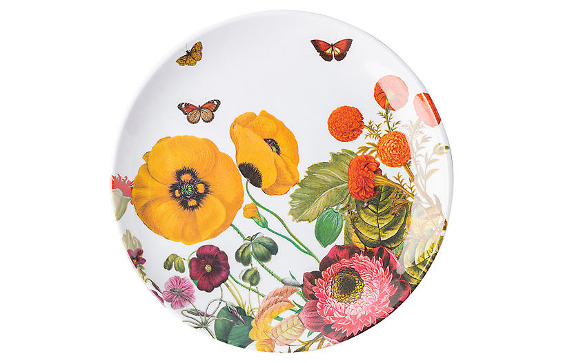 Field of Flowers Melamine Salad Plate, White