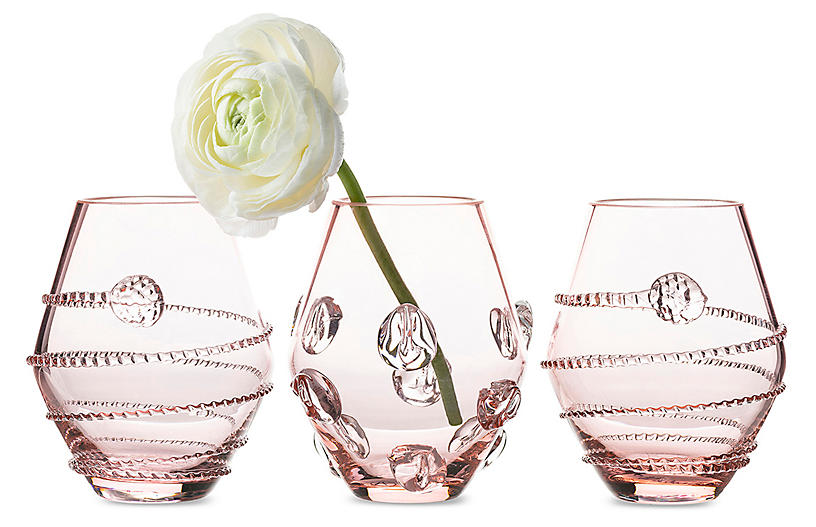Asst. of 3 Amalia Mini Vases, Pink