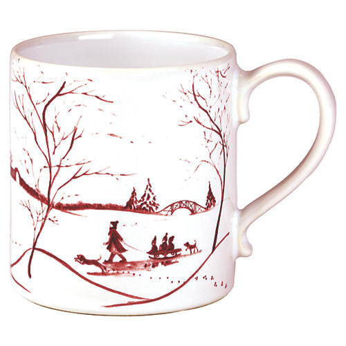 Country Estate Coffee Cup, White/Ruby