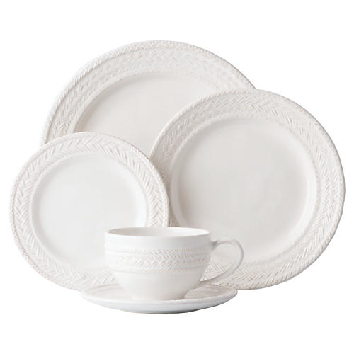 Asst. of 5 Le Panier Place Setting, White