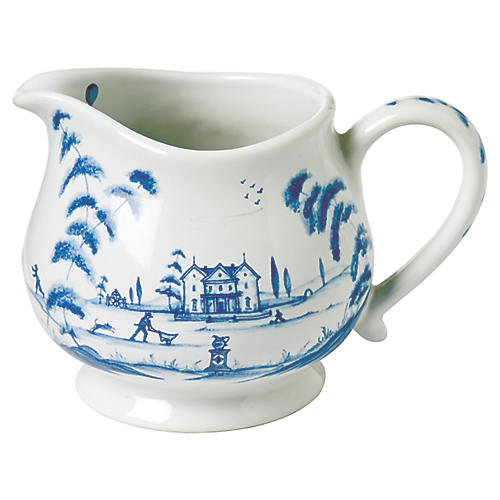 Country Estate Creamer, White/Blue