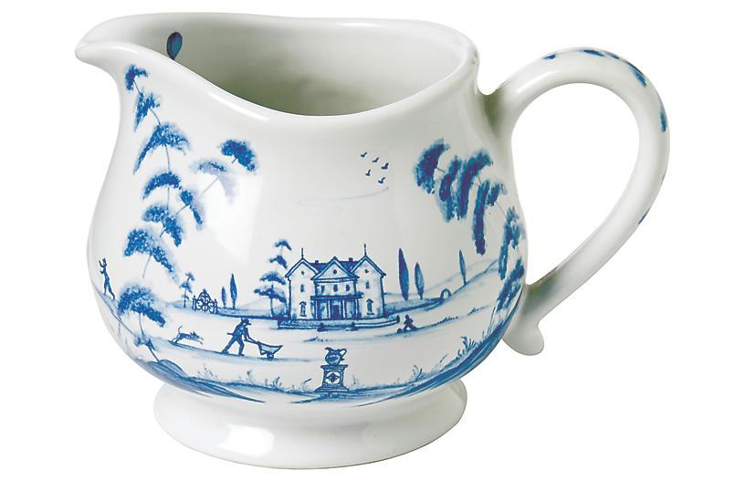 Country Estate Creamer, White/Blue