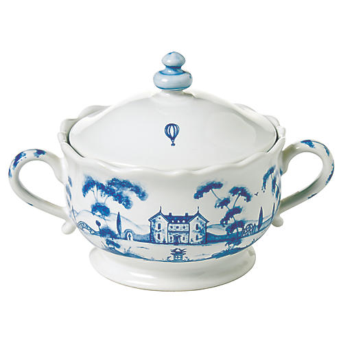 Country Estate Sugar Pot, White/Blue