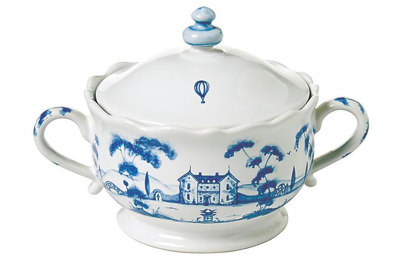 Country Estate Sugar Pot, White/Blue