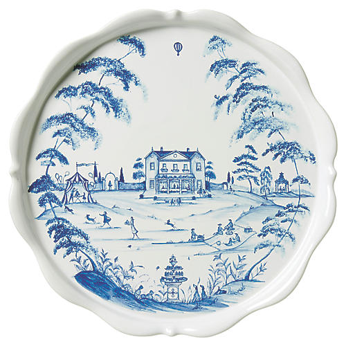 Country Estate Cake Stand, White/Blue