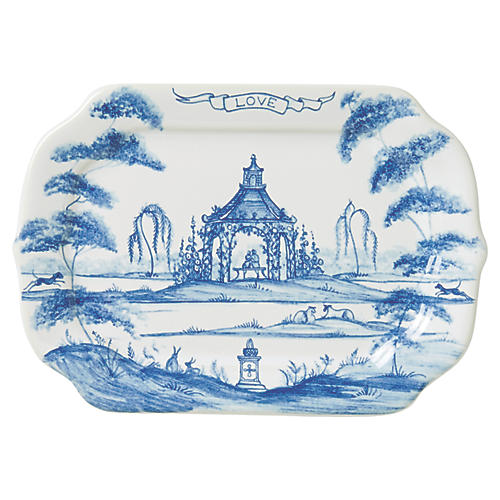 Country Estate Love Serving Tray, White/Blue