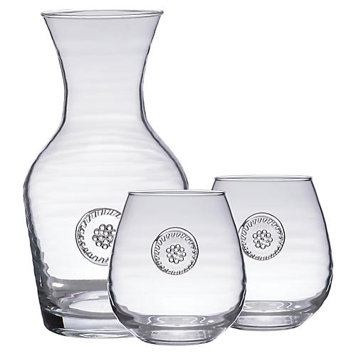 3-Pc Berry & Thread Glassware Set, Clear