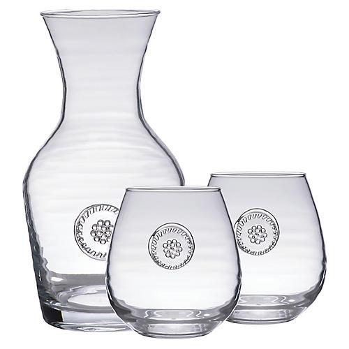 Asst. of 3 Berry & Thread Glassware Set, Clear
