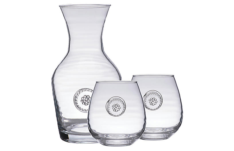 Asst. of 3 Berry & Thread Glassware Set, Clear