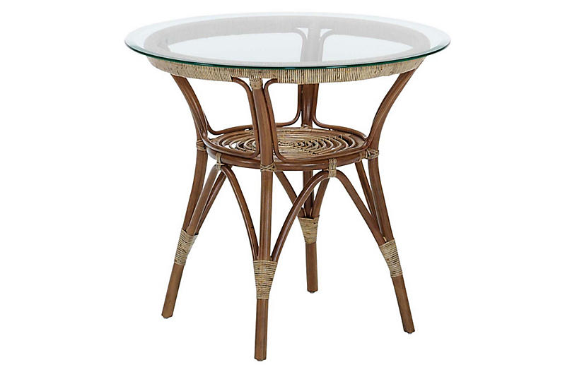 Cafe Rattan Table, Brown