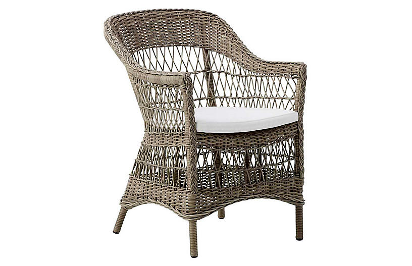 Charlot Outdoor Chair, Antique/White