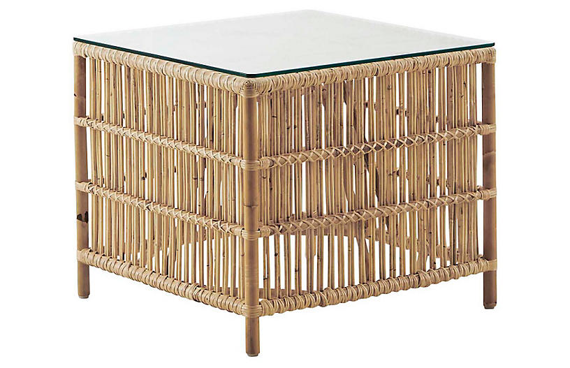 Glass-Top Donatello Side Table, Natural