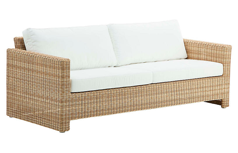 Sixty 3-Seat Outdoor Sofa, Natural/White