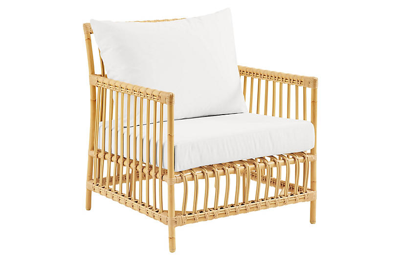 Caroline Outdoor Lounge Chair, Natural/White