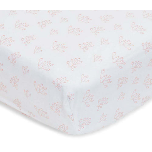 Rose Hip Fitted Crib Sheet, Blush