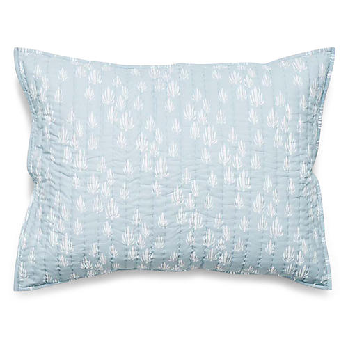 Inverse Seaweed Quilted Sham, Bay Blue