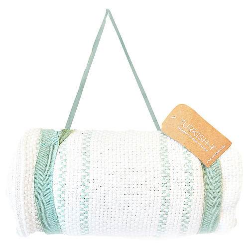 Beach Mat Throw w/Harness, White/Mint
