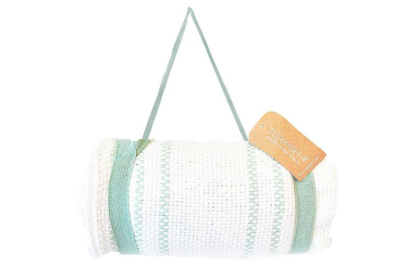 Beach Mat Throw w/Harness, White/Mint