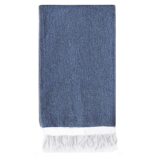Basic Single-Stripe Towel, Navy