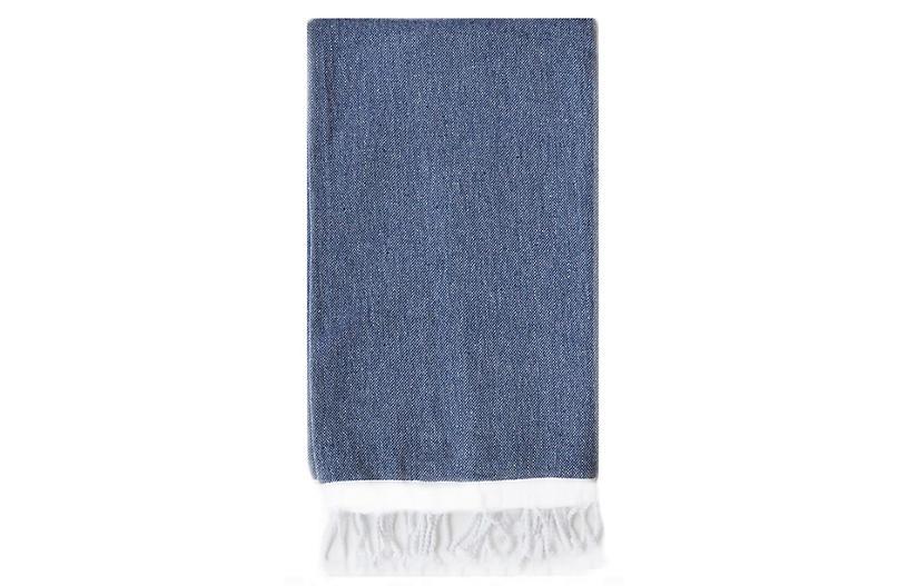 Basic Single-Stripe Towel, Navy