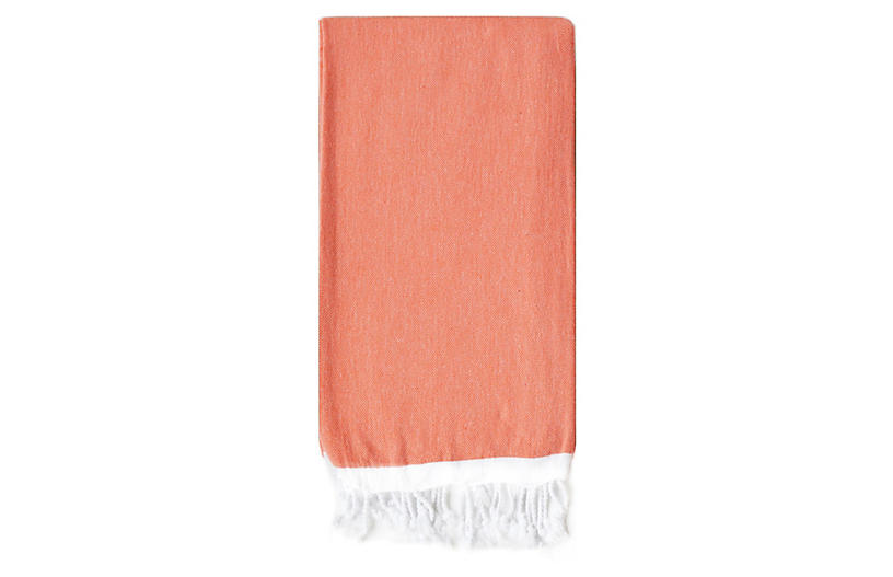 Basic Single-Stripe Towel, Coral