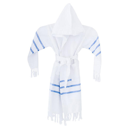 Kids' Spa Bathrobe, White/Blue
