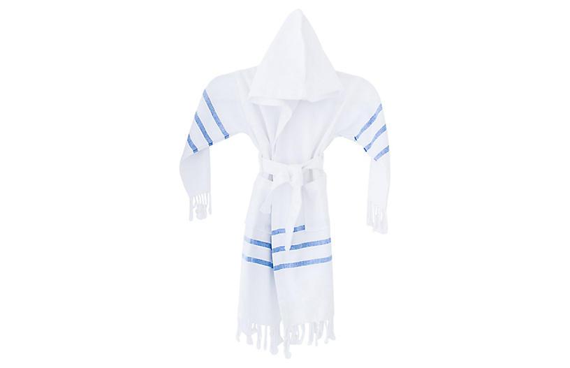 Kids' Spa Bathrobe, White/Blue