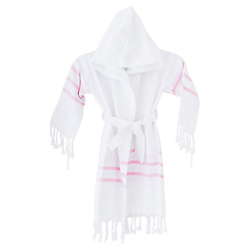 Kids' Spa Bathrobe, White/Pink