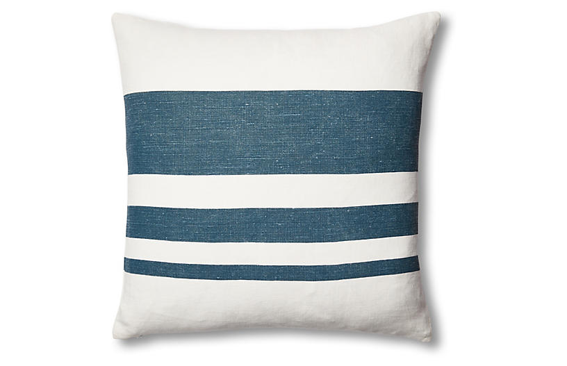 Sunset Linen Pillow, Blue