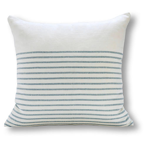 Stripe 22x22 Linen Pillow, Ocean
