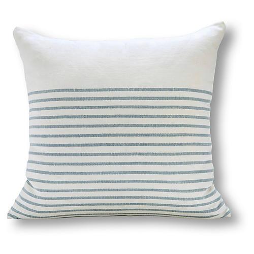 Stripe 22x22 Linen Pillow, Ocean