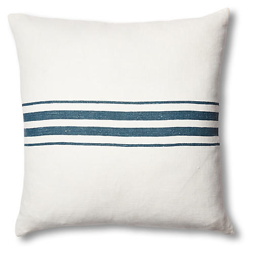 Frenchie Linen Pillow, Blue
