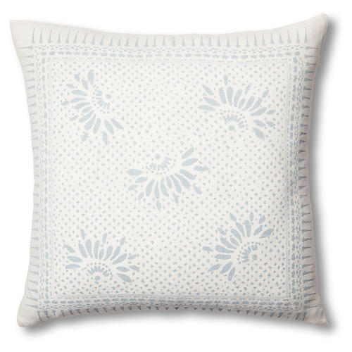 Gracie Flower 22x22 Linen Pillow, Ocean