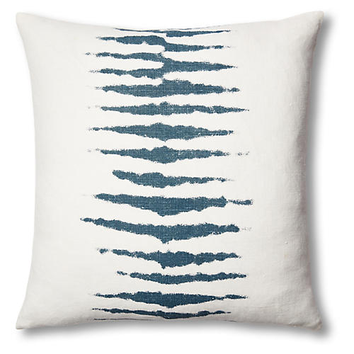 Wild One 22x22 Linen Pillow, Blue