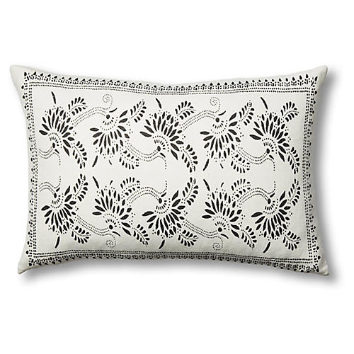 Big Mama Linen Lumbar Pillow, Charcoal