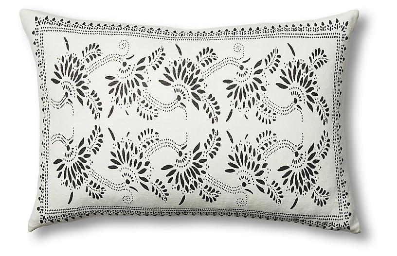 Big Mama Linen Lumbar Pillow, Charcoal