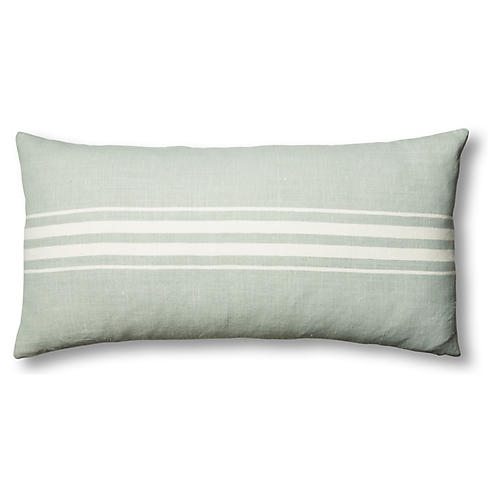 Frenchie 17x34 Linen Lumbar Pillow, Mineral