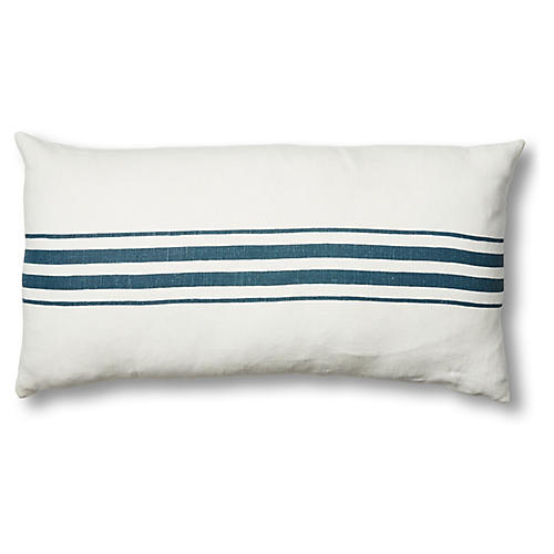 Frenchie 17x34 Linen Lumbar Pillow, Blue