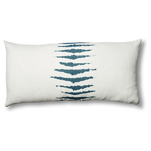 Wild One 17x34 Linen Lumbar Pillow, Blue