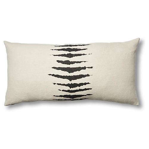 Wild One 17x34 Linen Lumbar Pillow, Charcoal