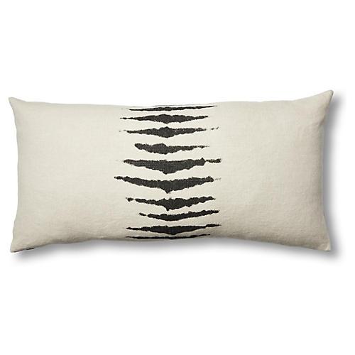Wild One 17x34 Linen Lumbar Pillow, Charcoal