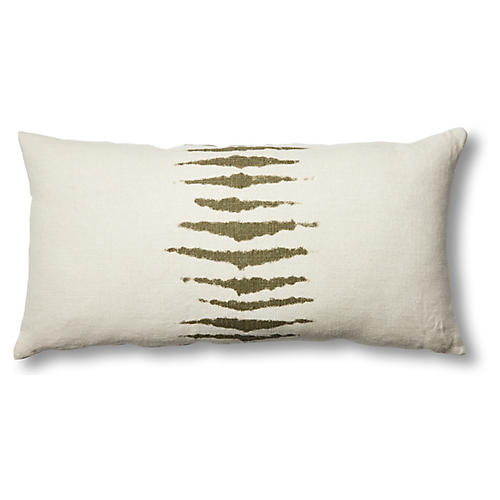 Wild One 17x34 Linen Lumbar Pillow, Kale