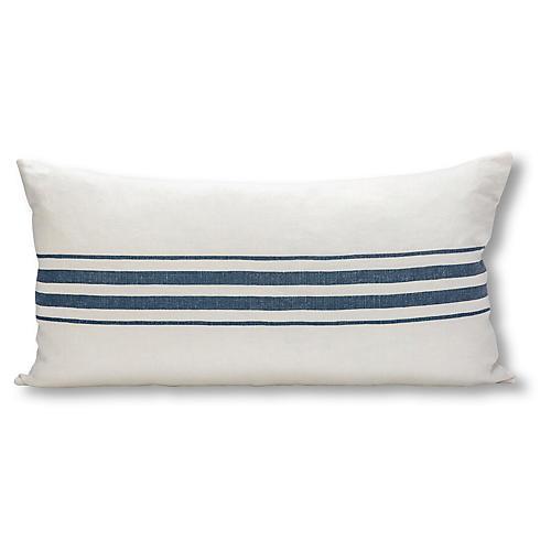 Frenchie Stripe 17x34 Lumbar Pillow, White/Navy