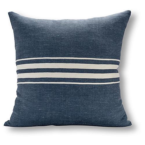 Frenchie Stripe 22x22 Pillow, Navy/White