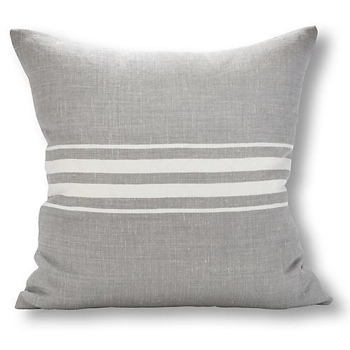 Frenchie Stripe 22x22 Pillow, Gray/White