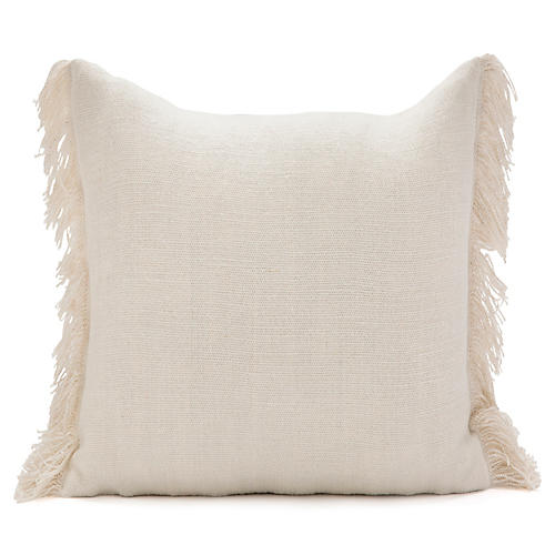 Solid Fringed Overdyed 22x22 Pillow, Beige
