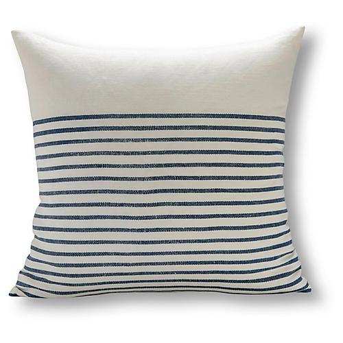 Three Quarter Stripe 22x22 Pillow, White/Blue