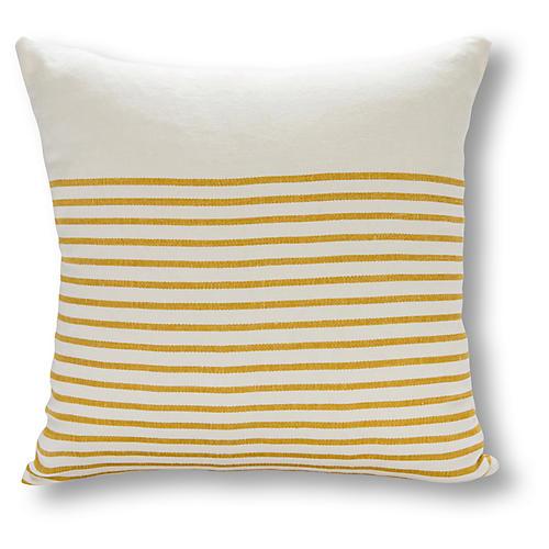 Three Quarter Stripe 22x22 Pillow, White/Ochre