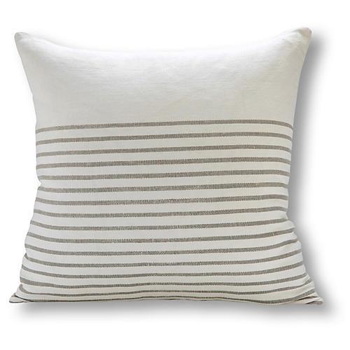Three Quarter Stripe 22x22 Pillow, White/Gray