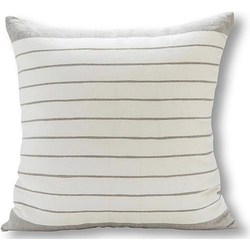 Block Stripe 22x22 Pillow, Gray/White